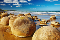 Photo of the famous Moeraki Boulders, South Island, New Zealand