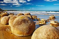Photo of the famous Moeraki Boulders, South Island, New Zealand
